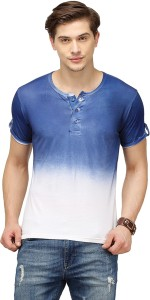 Campus Sutra Solid Men Henley Blue T-Shirt