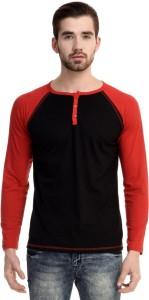 Mi Moda Solid Men's Round Neck Black, Red T-Shirt