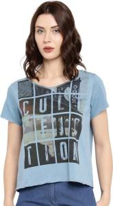 Cult Fiction Graphic Print Women's V-neck Light Blue T-Shirt