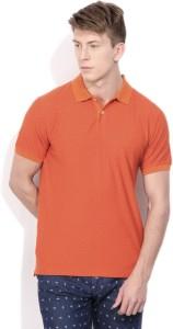 01ee8b3d929cfe Indian Terrain Printed Men s Polo Neck Orange T Shirt Best Price in ...