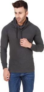 Fabstone Solid Men's Turtle Neck Grey T-Shirt