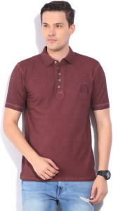 3745e643738 Peter England Solid Men s Polo Neck Maroon T Shirt Best Price in ...