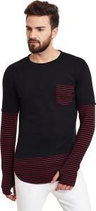 Hypernation Striped, Solid Men's Round Neck Black, Red T-Shirt