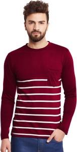 Hypernation Striped Men's Round Neck Maroon, White T-Shirt