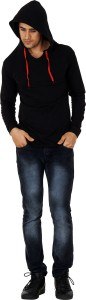 uzee Solid Men's Hooded Black T-Shirt