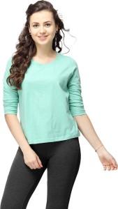 Campus Sutra Solid Women's Round Neck Green T-Shirt