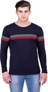 Unisopent Designs Striped Men's Round Neck Dark Blue T-Shirt