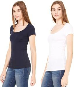 687b3275c1 Fashion Line Solid Women s Round Neck Black White T Shirt Pack of 2 ...