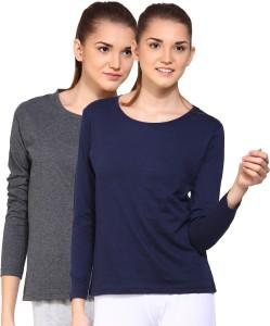 Ap'pulse Solid Women's Round Neck Grey, Dark Blue T-Shirt