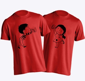 Young Trendz Printed Men's Round Neck Red T-Shirt