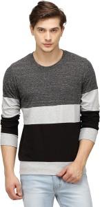 Campus Sutra Striped Men Round Neck Multicolor T-Shirt