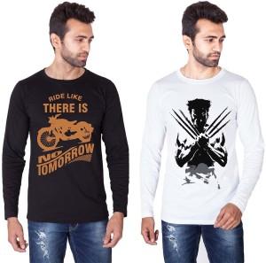 Veirdo Printed Men's Round Neck Black, White T-Shirt
