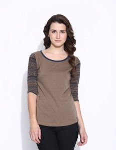 Cult Fiction Printed Women's Scoop Neck Brown T-Shirt