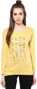 Cenizas Printed Women's Round Neck Yellow T-Shirt