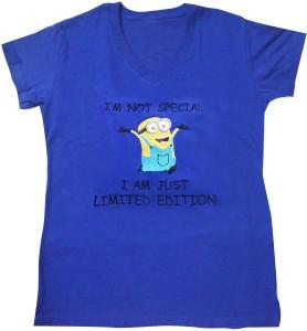 Art-Tickles Embroidered Women's V-neck Blue T-Shirt