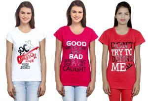 IndiStar Printed Women's Round Neck White, Pink, Red T-Shirt