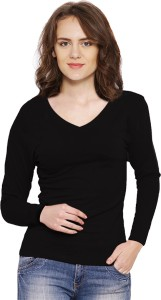 Vea Kupia Solid Women's V-neck Black T-Shirt