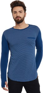 Hypernation Striped Men's Round Neck Blue, White T-Shirt