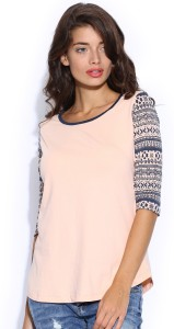 Cult Fiction Printed Women's Round Neck Pink T-Shirt