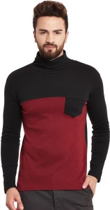 Hypernation Solid Men's Turtle Neck Maroon, Black T-Shirt