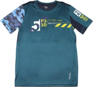 3d97ddca85ad Reebok Printed Men s Round Neck Blue Green T Shirt Best Price in India