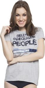 Clovia Printed Women's Round Neck Grey T-Shirt