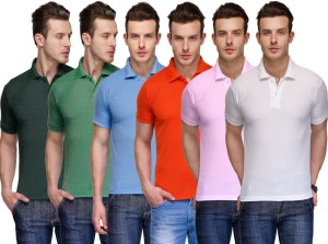cbd5457b2f5d TSX Solid Men s Polo Neck Multicolor T Shirt Pack of 6 Best Price in ...