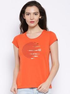 Cult Fiction Printed Women's Round Neck Orange T-Shirt