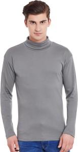 Hypernation Solid Men's Turtle Neck Grey T-Shirt