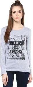 Cenizas Printed Women's Round Neck Grey T-Shirt