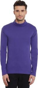 Hypernation Solid Men's Turtle Neck Purple T-Shirt