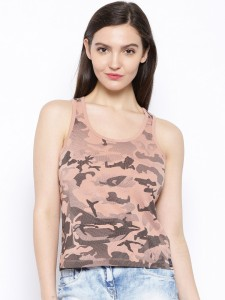 Cult Fiction Printed Women's Scoop Neck Pink T-Shirt