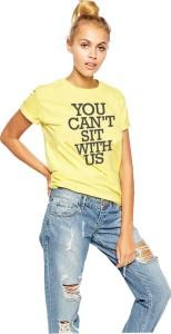 Young Trendz Printed Women's Round Neck Yellow T-Shirt