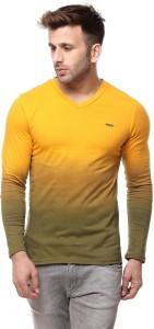 Gritstones Solid Men's V-neck Yellow T-Shirt