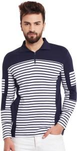 1e0083abf Hypernation Striped Solid Men s Polo Neck Blue White T Shirt Best ...