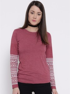 Silly People Printed Women's Round Neck Maroon T-Shirt