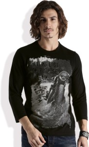 2ff396003e8c Roadster Printed Men s Round Neck Black T Shirt Best Price in India ...