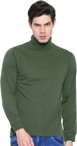 Dream of Glory Inc. Solid Men's Turtle Neck Green T-Shirt