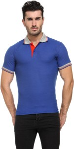 TSX Solid Men's Polo Neck Blue T-Shirt