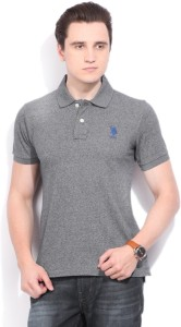 acdfec8d1e U S Polo Assn Solid Men s Polo Neck Grey T Shirt Best Price in India ...