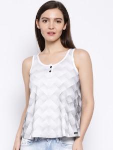 Cult Fiction Self Design Women's Henley White T-Shirt