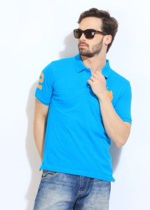 466b533af06 U S Polo Assn Solid Men s Polo Neck Blue T Shirt Best Price in India ...