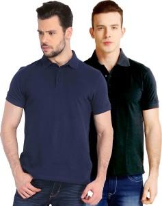 Baremoda Solid Men s Polo Neck Dark Blue Black T-Shirt ( Pack of ... 9ab1f68a442