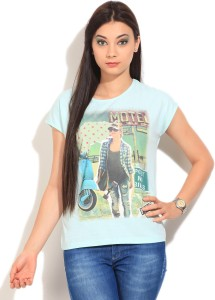 United Colors of Benetton Graphic Print Women's Round Neck Blue T-Shirt