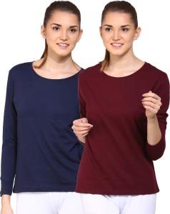 Ap'pulse Solid Women's Round Neck Dark Blue, Brown T-Shirt