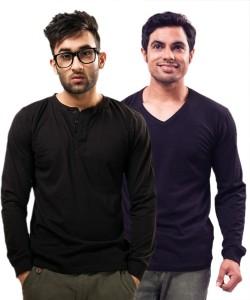 Unisopent Designs Solid Men's Henley Black, Dark Blue T-Shirt