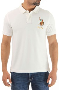 U S Polo Assn Solid Men S Polo Neck White T Shirt Best Price In