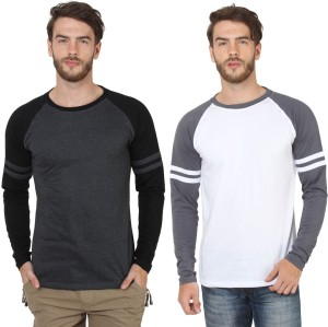 2b73ba498ed9 Sayitloud Solid Men s Round Neck Black White T Shirt Pack of 2 Best ...