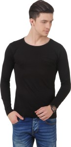 Frost Solid Men's Scoop Neck Black T-Shirt