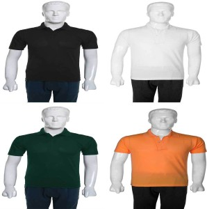 fb2edc4ef92f Selfie Seven Solid Men s Polo Neck Multicolor T Shirt Pack of 4 Best ...